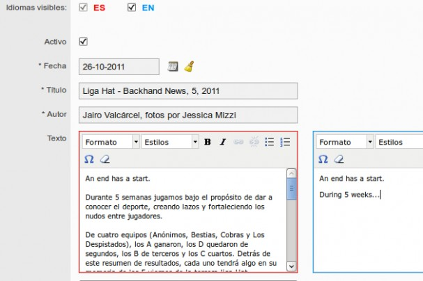 Multi-language text editing in parallel.